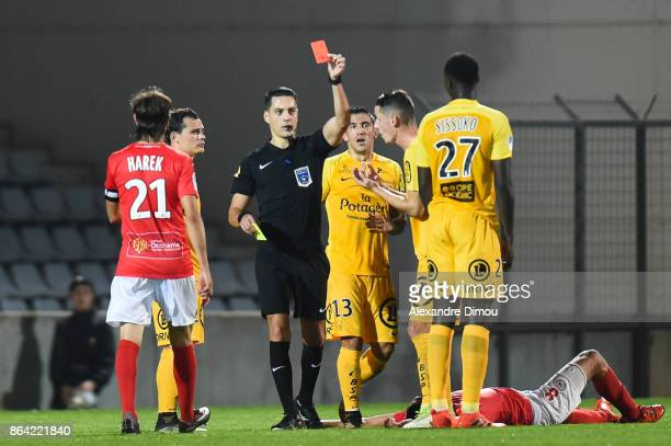 Red Card for Ibrahima Sissoko of Brest during the Ligue 2 match between Nimes Olympique and Stade Brestois at on October 20 2017 in Nimes France