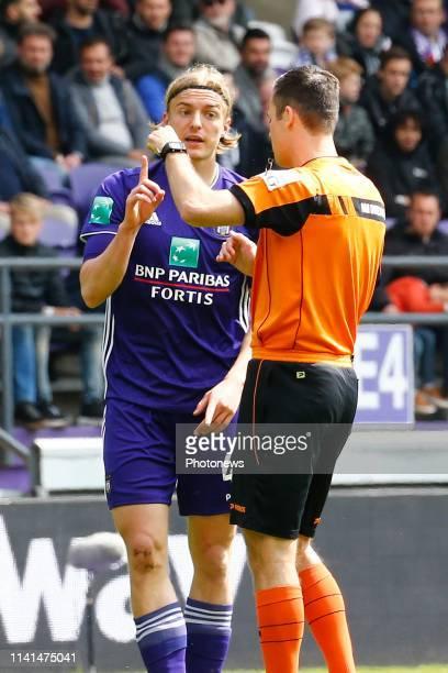 red card for Sebastiaan Bornauw defender of Anderlecht pictured during the Jupiler Pro League match between RSC Anderlecht and Standard de Liege at...