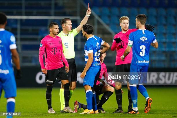 Red card for Thomas Lam or PEC Zwolle will be reversed by the VAR during the Dutch Eredivisie match between PEC Zwolle and FC Utrecht at the MAC3Park...