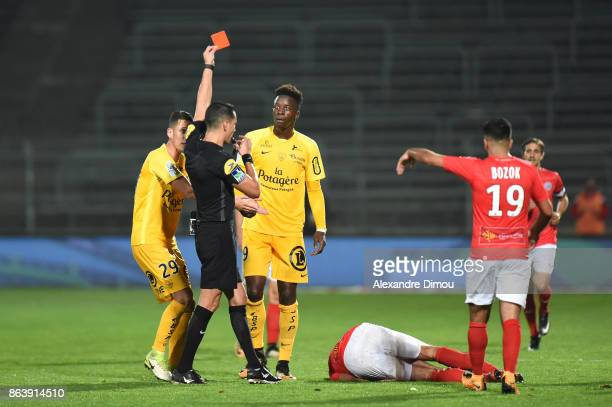 Red Card for Zakaria Diallo of Brest during the Ligue 2 match between Nimes Olympique and Brest on October 20 2017 in Nimes France