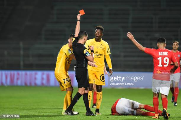 Red Card Zakaria Diallo of Brest during the Ligue 2 match between Nimes Olympique and Stade Brestois at on October 20 2017 in Nimes France