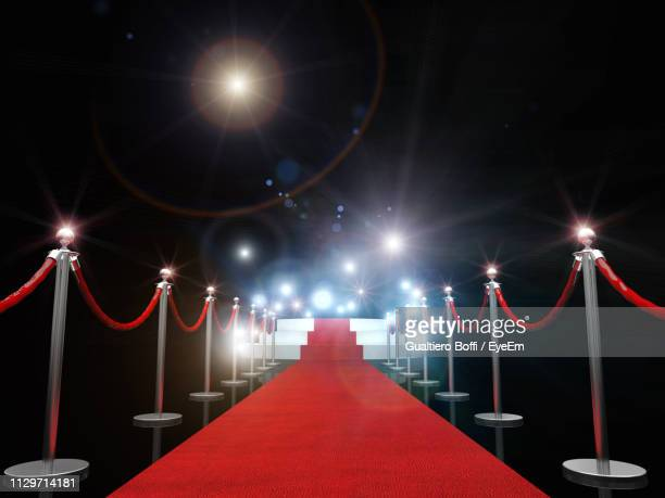 red carpet amidst bollards against illuminated lights - レッドカーペット ストックフォトと画像