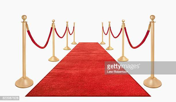 red carpet and red velvet ropes - red carpet event stock pictures, royalty-free photos & images