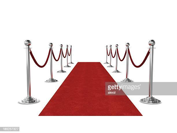 Red carpet and ropes isolated on white background