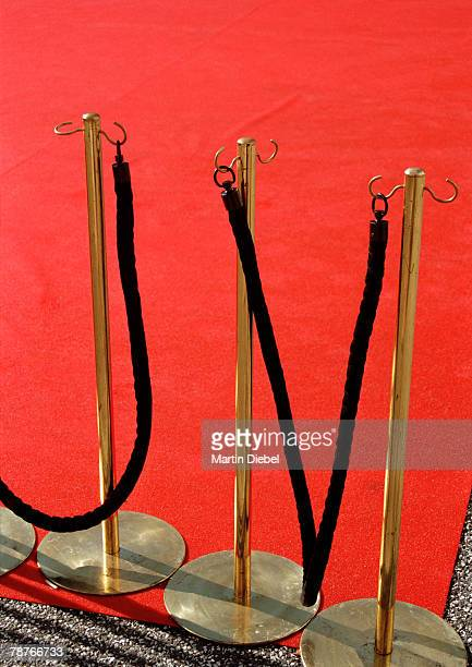 Red carpet and unused rope barriers