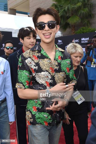 "Red Carpet Arrivals -- 2018 BBMA's at the MGM Grand, Las Vegas, Nevada -- Pictured: Members of ""BTS"" --"