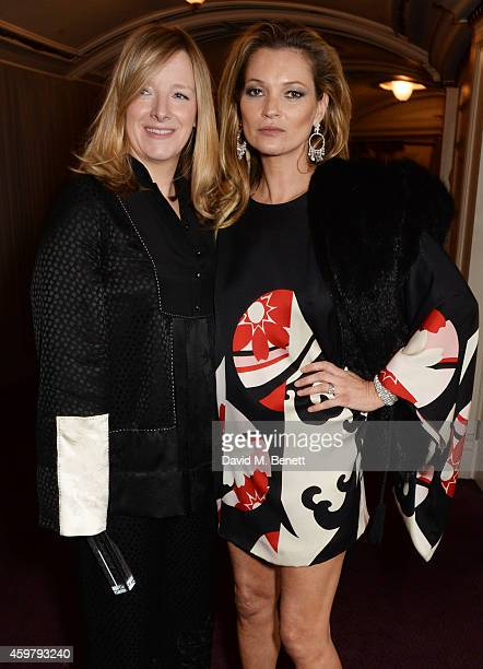 Red Carpet Designer winner Sarah Burton of Alexander McQueen and presenter Kate Moss attend the British Fashion Awards at the London Coliseum on...