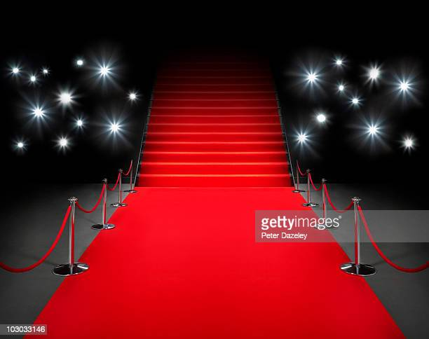 red carpet event with flash photography - red carpet event stock pictures, royalty-free photos & images