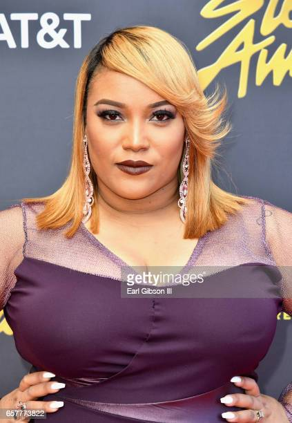 Red carpet host Tasha Page-Lockhart arrives at the 32nd annual Stellar Gospel Music Awards at the Orleans Arena on March 25, 2017 in Las Vegas,...