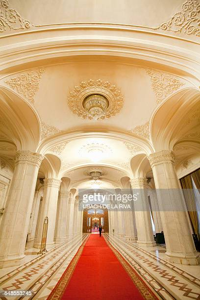 Red carpet in Palace of Parliament hallway, Bucharest, Romania