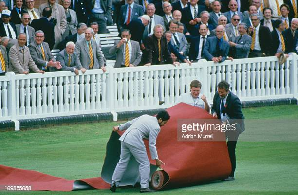 A red carpet is laid out for Queen Elizabeth II during the 2nd Test between England and Australia at Lord's Cricket Ground London 27th June 2nd July...