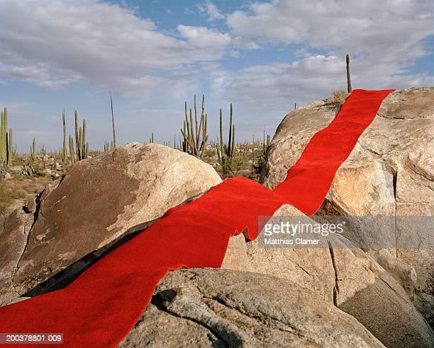 red carpet laid over rocks - tapis rouge photos et images de collection