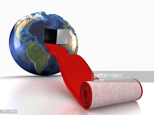 Roter Teppich führt in die Erde