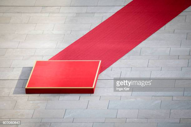 A red carpet lies in front of the chancellery prior to a meeting of German Chancellor Angela Merkel and Macedonian Prime Minister Zoran Zaev on...