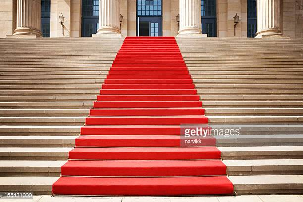 red carpet on the staircase - red carpet event stock pictures, royalty-free photos & images