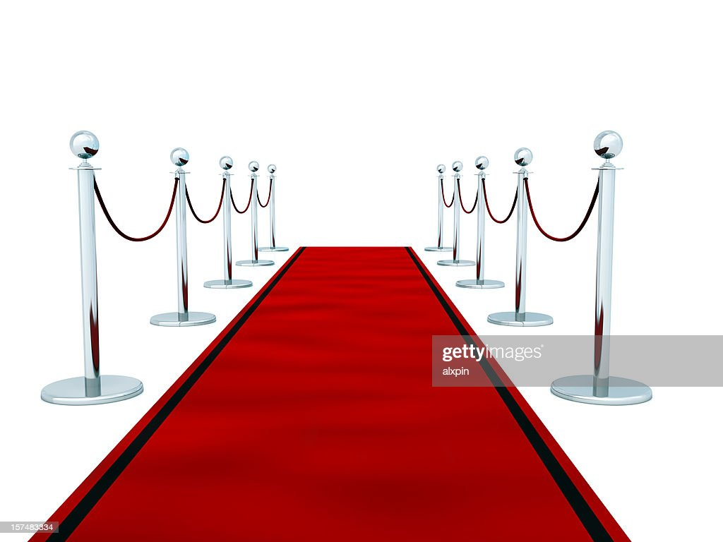 Red carpet on white background : Stock Photo