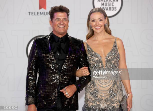 "Red Carpet"" -- Pictured: Carlos Vives and Claudia Elena Vasquez at the BB&T Center in Sunrise, FL on April 15, 2021 --"