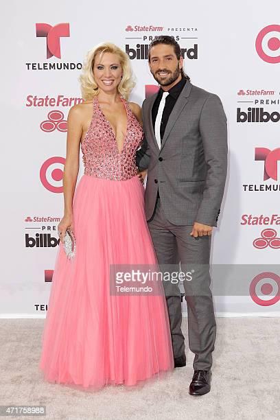 Red Carpet -- Pictured: Carolina Laursen and David Chocarro arrives at the 2015 Billboard Latin Music Awards, from Miami, Florida at the BankUnited...