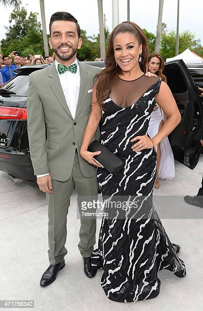 Red Carpet -- Pictured: Juan Manuel Cortes and Carolina Sandoval arrive at the 2015 Billboard Latin Music Awards, from Miami, Florida at the...