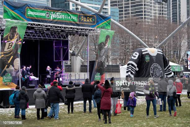 Red Carpet Riot performs during the Bridgestone NHL Winter Classic Park fan festival at Millenium Park on December 29 2018 in Chicago Illinois