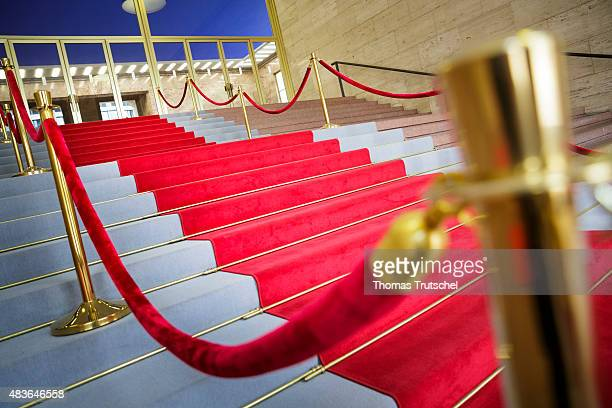 Red carpet with a red cord as a barrier in Berlin on July 23 2015
