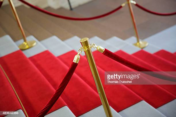 Red carpet with a red cord as a barrier in Berlin on July 29 2015