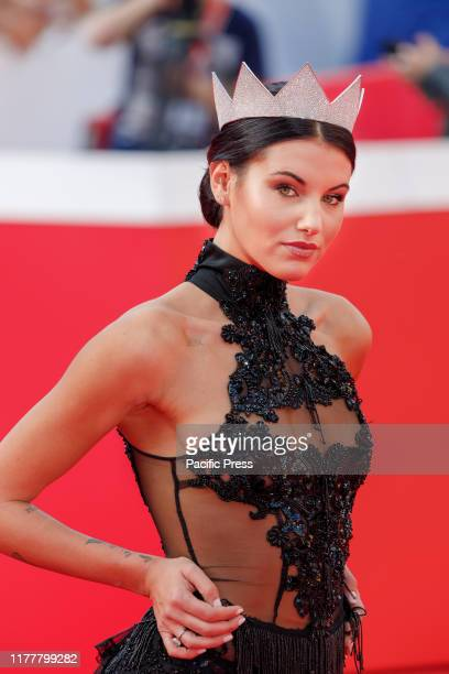 Red carpet with Carolina Stramare, winner of Miss Italia 2019 in Rome Film Festival at Auditorium Parco della Musica.