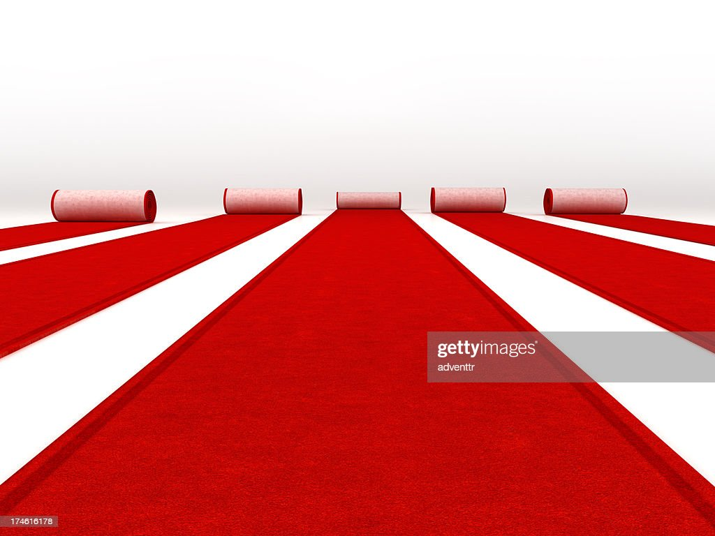 Red carpets rolling : Stock Photo