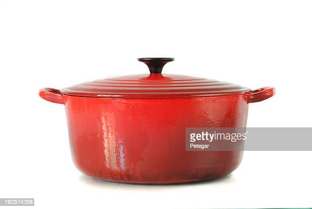 red casserole dish on white background - cooking pan stock pictures, royalty-free photos & images