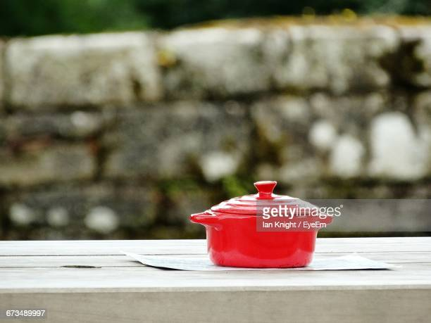 Red Casserole On Table