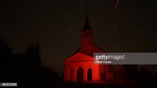 Red Chapel Night with Shooting Star