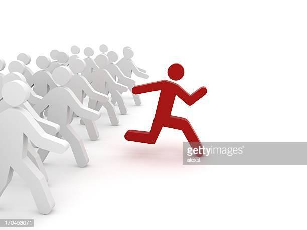Rote Zeichen Laufen vor einer Gruppe
