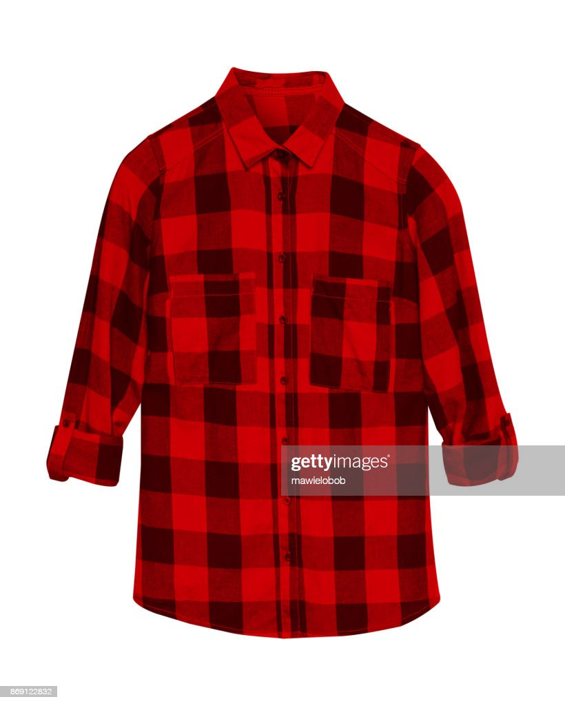f8ad235d13e Red checkered shirt with collar and buttons isolated on white   Stock Photo