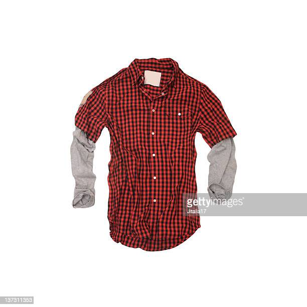 Red Checkered 'Twofer' Shirt on White Background