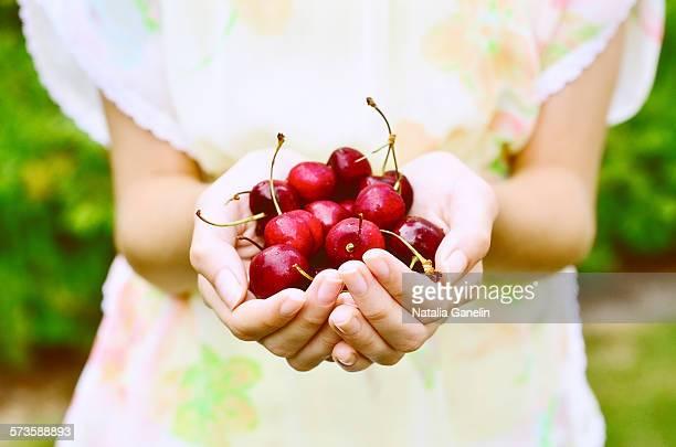 Red cherries in girl's hands
