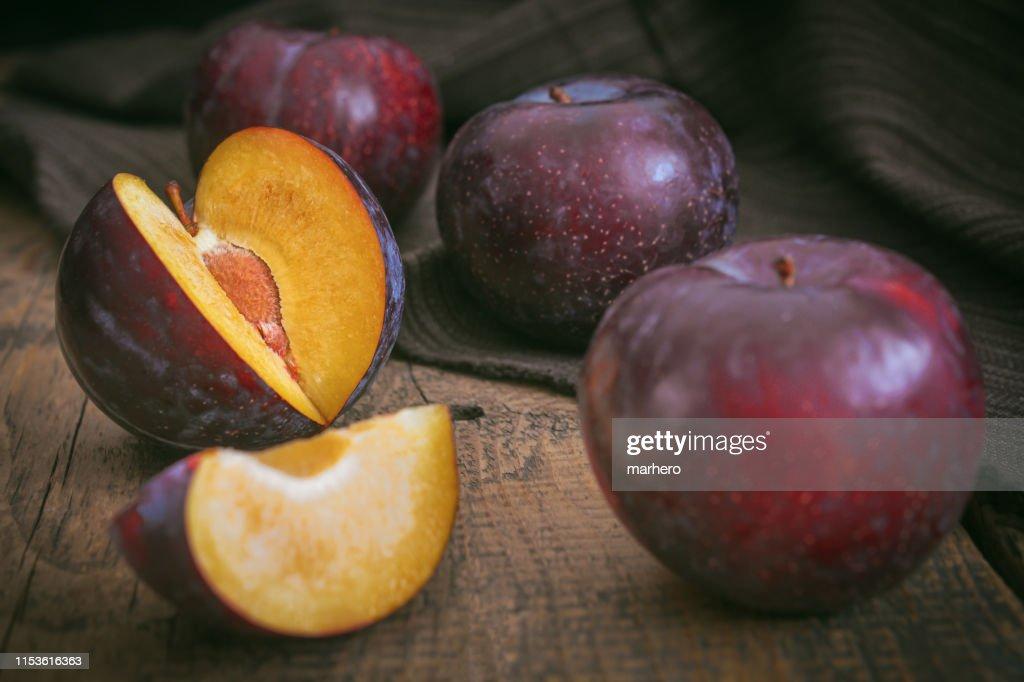 Red cherry plum fruit. : Stock Photo
