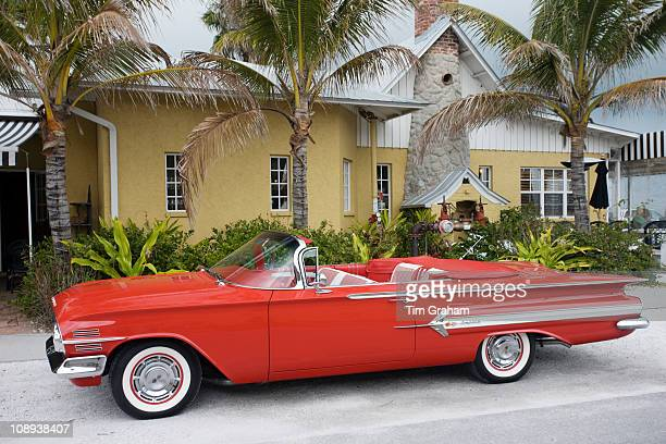 Red Chevrolet Impala convertible automobile Anna Maria Island Florida sunshine state United States of America