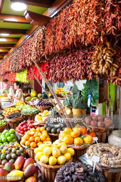 red chili pepper on famous market in funchal (mercado dos lavradores), madeira island, portugal - funchal stock pictures, royalty-free photos & images