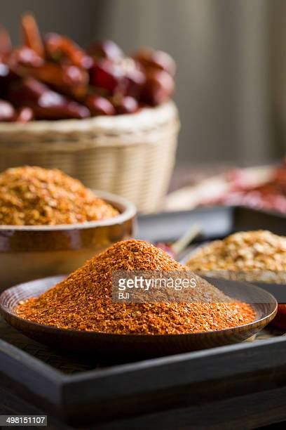 Red chili peppers and powder