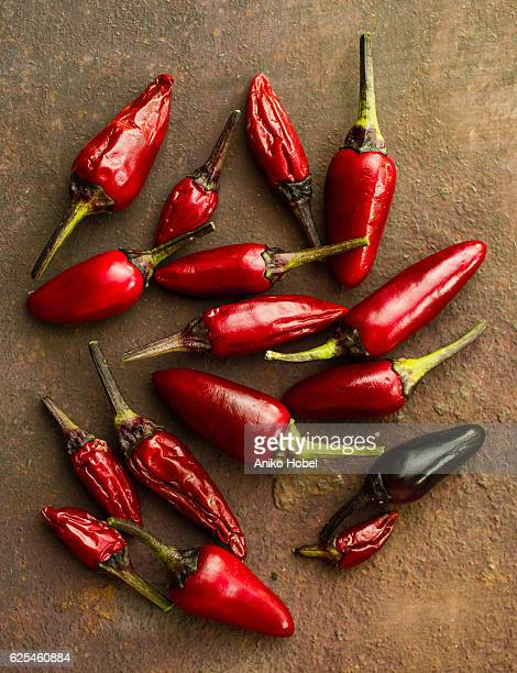 Red chili peppers, top view