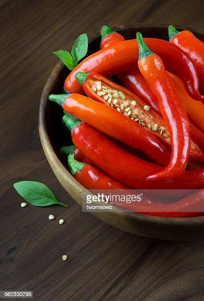 Red chilis in wooden bowl