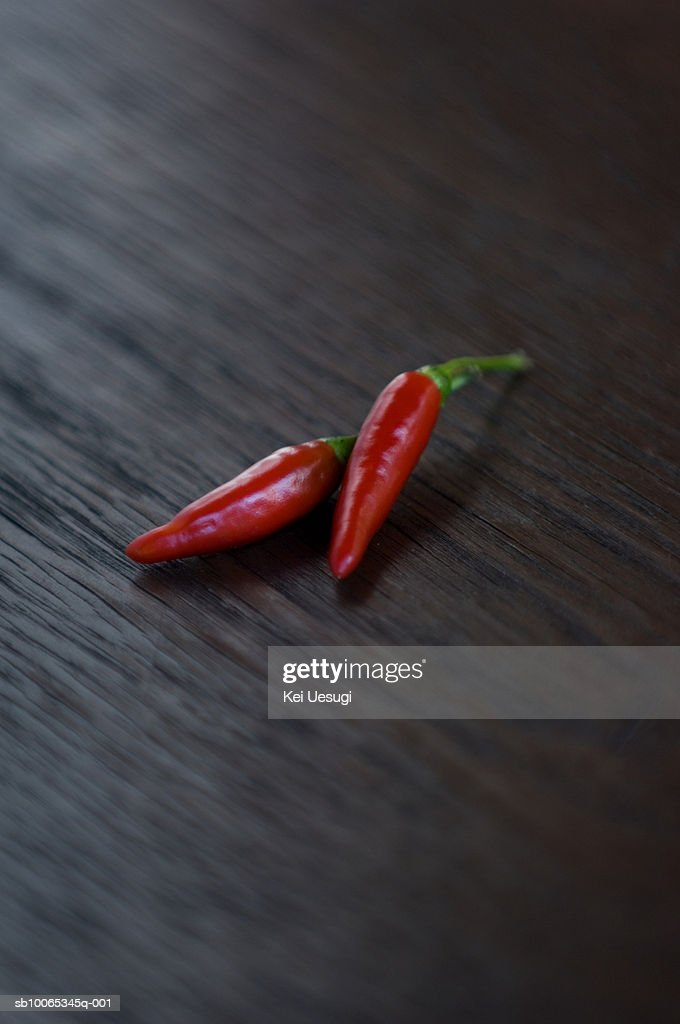 Red chillies, close-up : Foto stock