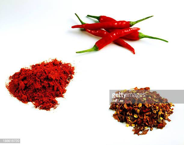 Red chillies - fresh, crushed, and powdered