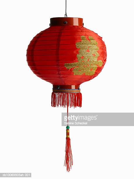 Red chinese lantern on white background