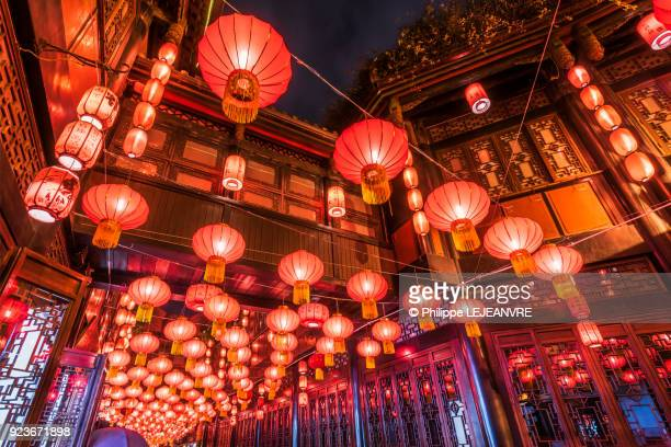 Red chinese lanterns hanging in Jinli street - Chengdu