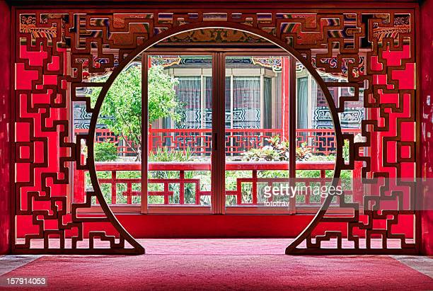 Red Chinese style entrance, Taipei, Taiwan
