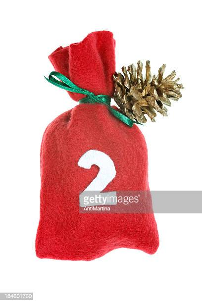 red Christmas Tasche für advent Kalender, isoliert auf weiss