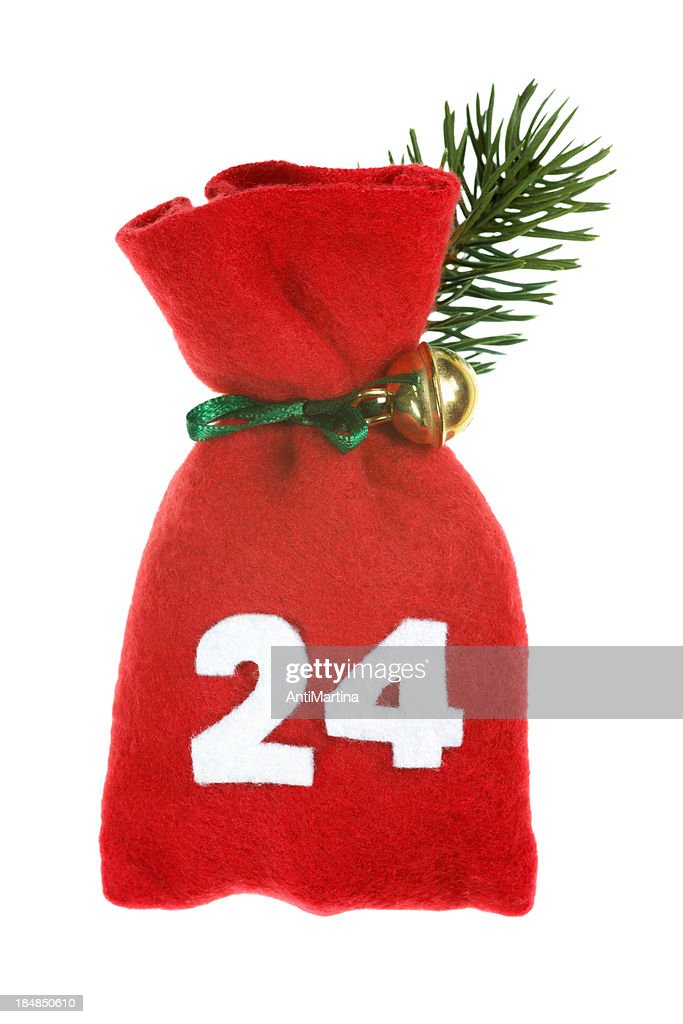 red Christmas bag for advent calendar isolated on white : Stock Photo