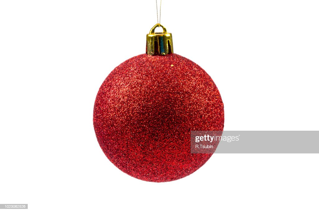 Red Christmas ball isolated on white background : Stock Photo