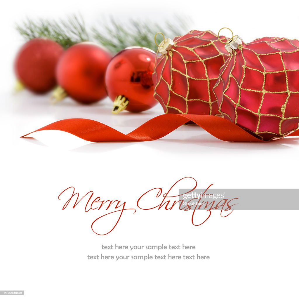 Red Christmas Balls On White Background Merry Christmas Card